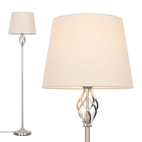 Memphis Brushed Chrome Floor Lamp With Beige Aspen Shade