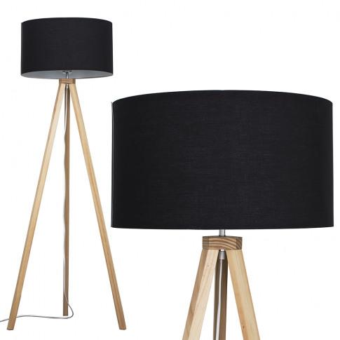 Barbro Light Wood Floor Lamp With Black Shade