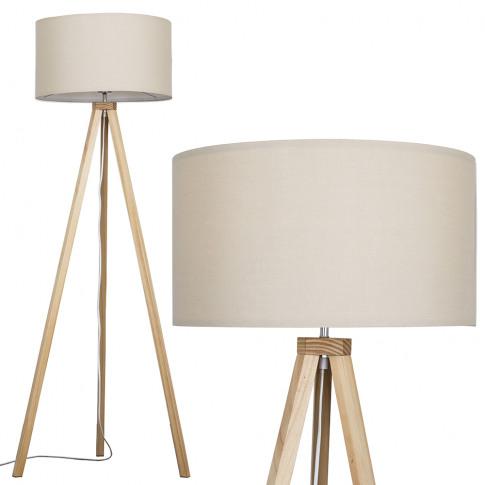 Barbro Light Wood Floor Lamp With Mink Shade