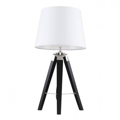 Clipper Black And Chrome Tripod Table Lamp With Whit...