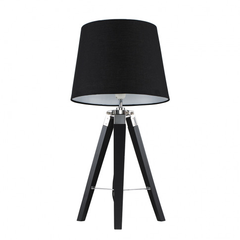 Clipper Black And Chrome Tripod Table Lamp With Blac...