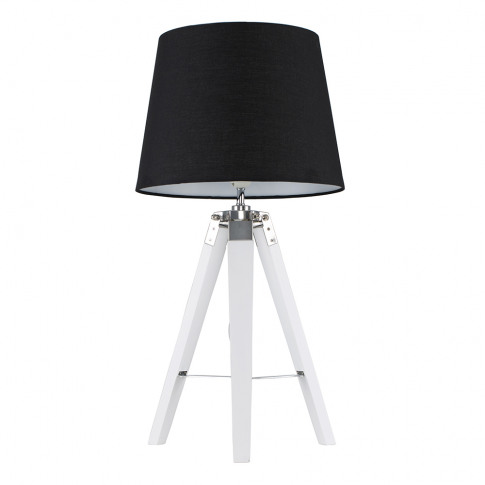 Clipper White And Chrome Tripod Table Lamp With Blac...