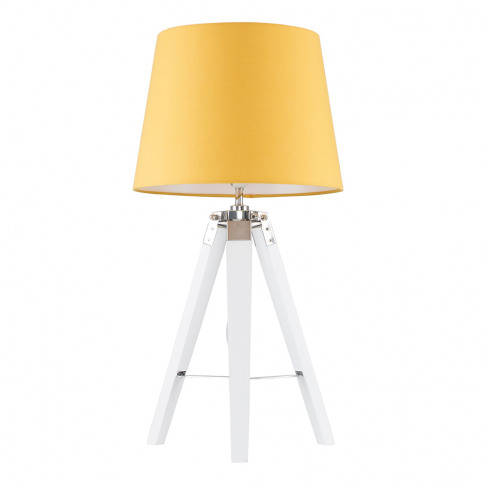 Clipper White And Chrome Tripod Table Lamp With Must...