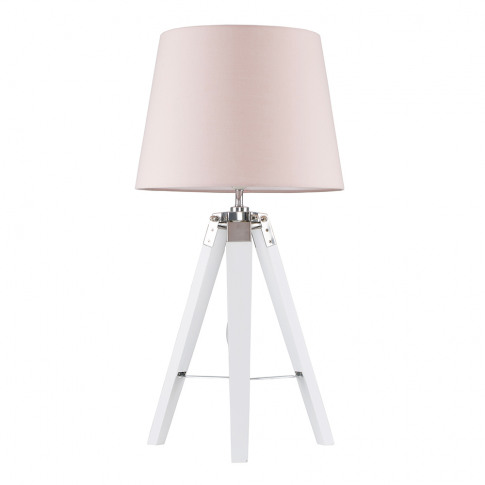 Clipper White And Chrome Tripod Table Lamp With Dust...