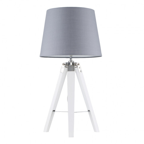 Clipper White And Chrome Tripod Table Lamp With Grey...