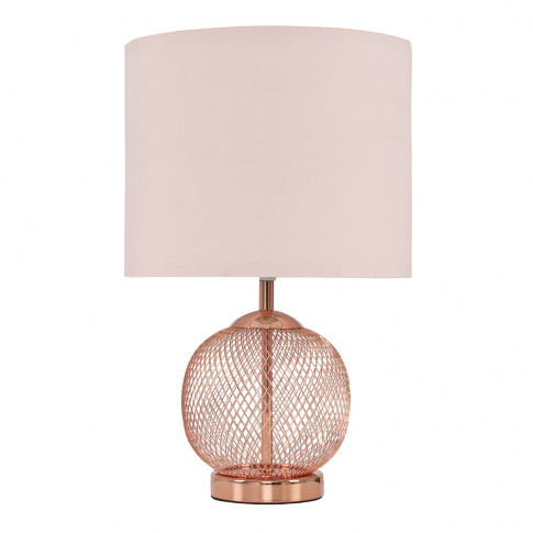 Regina Copper Touch Table Lamp With Dusty Pink Shade