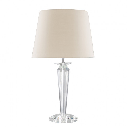 Davenport K9 Crystal Table Lamp With Beige Aspen Shade