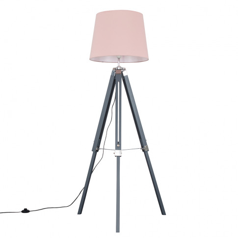 Clipper Grey And Chrome Tripod Floor Lamp With Dusty...