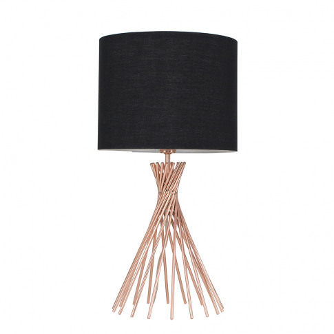 Gorforth Copper Table Lamp With Black Shade