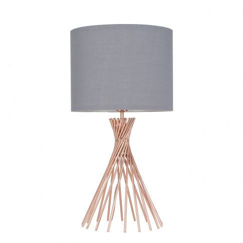 Gorforth Copper Table Lamp With Grey Shade