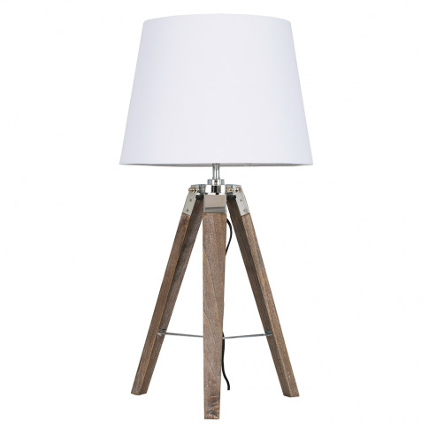 Clipper Light Wood Tripod Table Lamp With White Aspe...