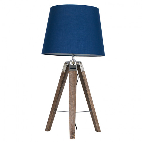Clipper Light Wood Tripod Table Lamp With Navy Blue Aspen Shade