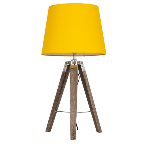 Clipper Light Wood Tripod Table Lamp With Mustard As...