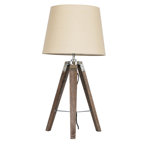 Clipper Light Wood Tripod Table Lamp With Beige Aspe...