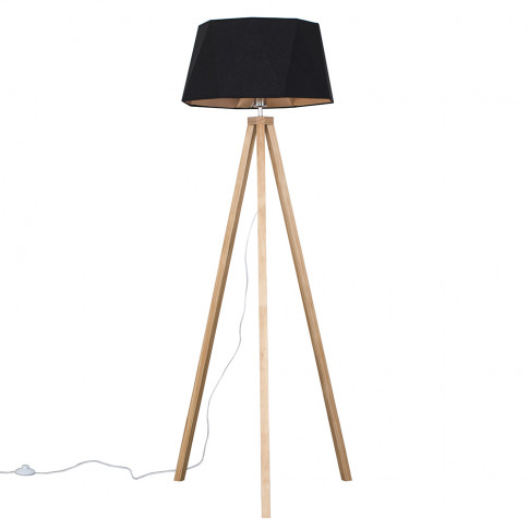 Barbro Light Wood Tripod Floor Lamp With Toke Shade