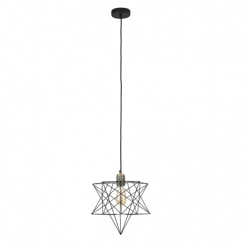 Casco Antique Brass Pendant With Black Sadira Shade