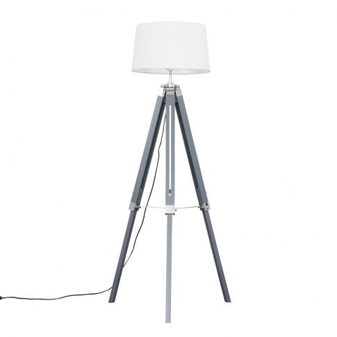 Clipper Grey Tripod Floor Lamp With White Doretta Shade