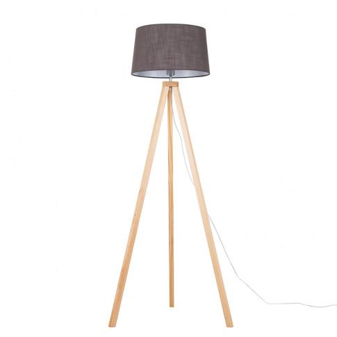 Barbro Light Wood Tripod Floor Lamp With Dark Grey D...