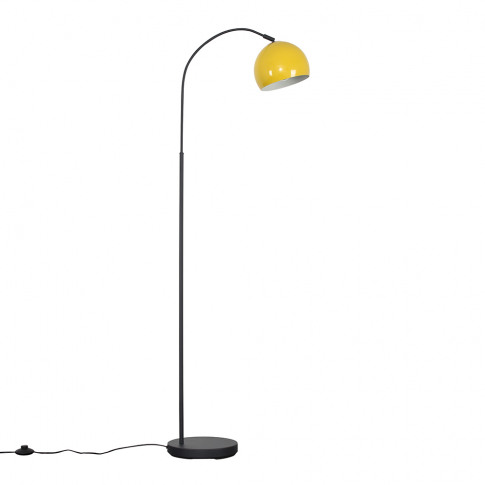 Curva Dark Grey Floor Lamp With Yellow Arco Shade