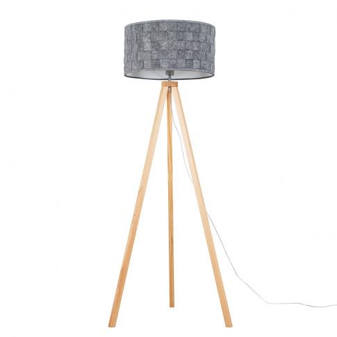 Barbro Light Wood Tripod Floor Lamp With Xl Grey Mon...