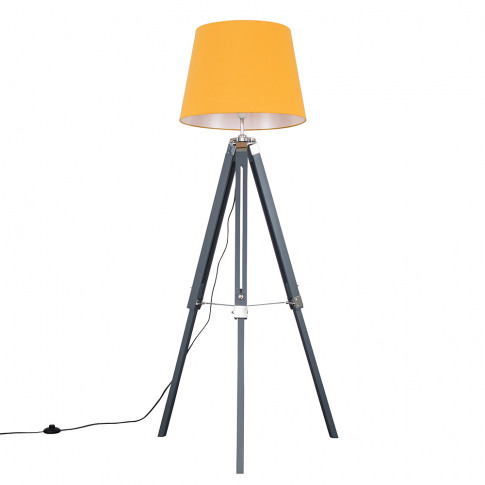 Clipper Grey And Chrome Tripod Floor Lamp With Xl Mu...