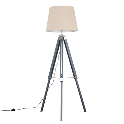 Clipper Grey And Chrome Tripod Floor Lamp With Xl Be...