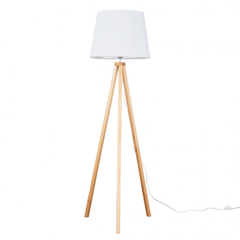 Barbro Light Wood With Xl White Aspen Shade
