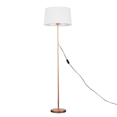 Charlie Copper Floor Lamp With White Doretta Shade