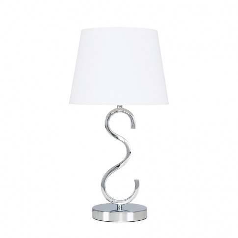 Cabonna Chrome Touch Table With White Aspen Shade