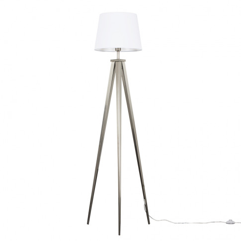 Nero Brushed Chrome Tripod Floor Lamp With White Asp...