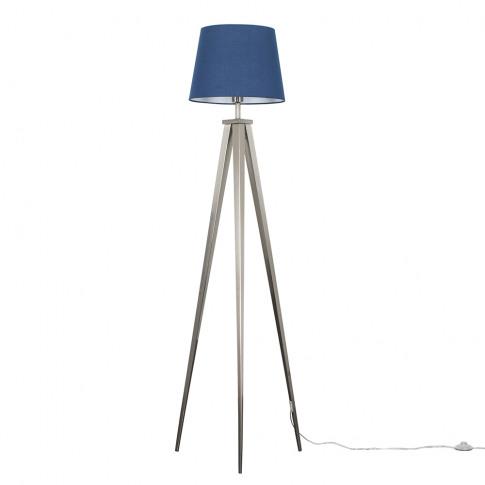 Nero Brushed Chrome Tripod Floor Lamp With Navy Blue...