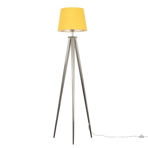 Nero Brushed Chrome Tripod Floor Lamp With Mustard A...