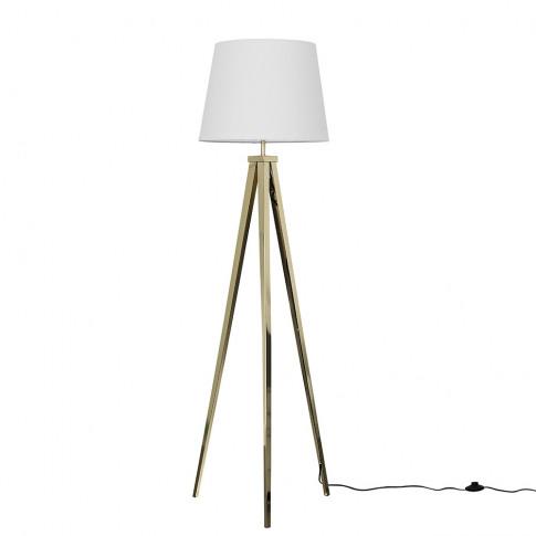 Nero Gold Tripod Floor Lamp With White Aspen Shade