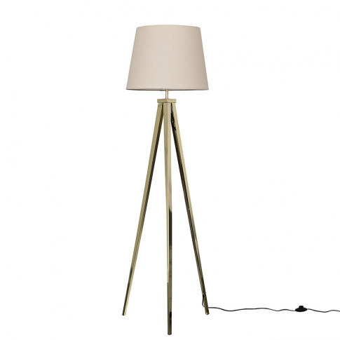 Nero Gold Tripod Floor Lamp With Beige Aspen Shade
