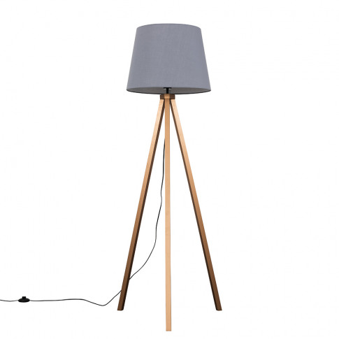 Barbro Copper Tripod Floor Lamp With Xl Grey Shade