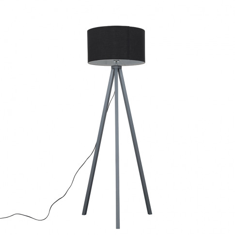 Barbro Painted Grey Wood Tripod Floor Lamp With Xl B...