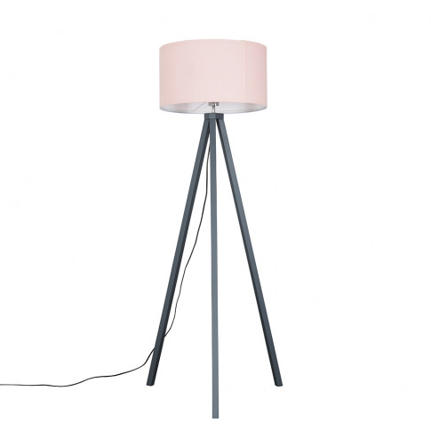 Barbro Painted Grey Wood Tripod Floor Lamp With Xl P...