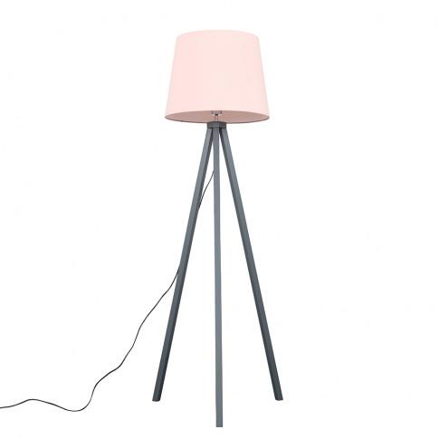 Barbro Grey Tripod Floor Lamp With Xl Pink Shade