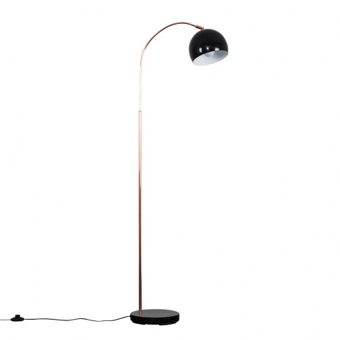 Curva Copper And Black Floor Lamp With Black Arco Shade