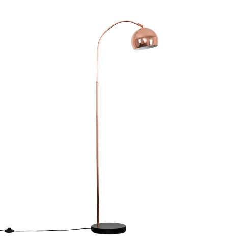 Curva Copper And Black Floor Lamp With Copper Arco S...