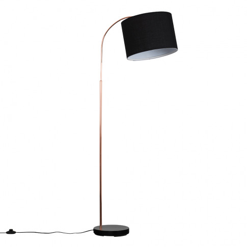 Curva Copper And Black Floor Lamp With Large Black R...