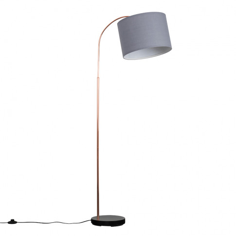 Curva Copper And Black Floor Lamp With Large Grey Re...