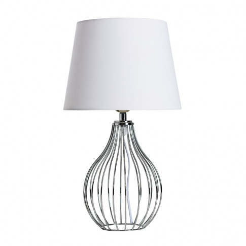 Andreas Chrome Table Lamp With Small White Aspen Shade