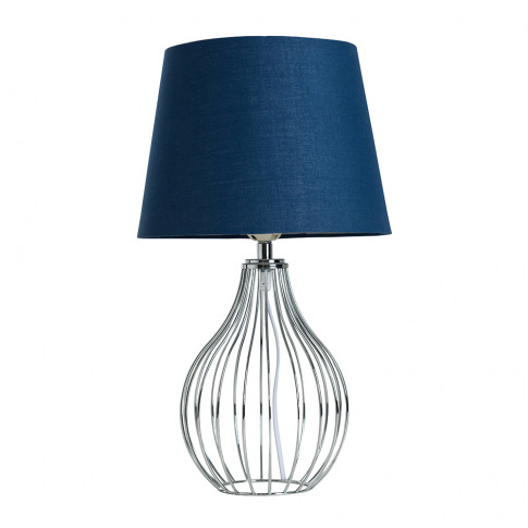 Andreas Chrome Table Lamp With Small Navy Blue Aspen Shade