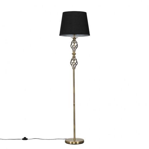 Pembroke Antique Brass Twist Floor Lamp With Black A...