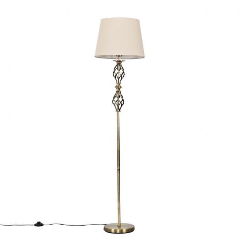 Pembroke Antique Brass Twist Floor Lamp With Beige A...