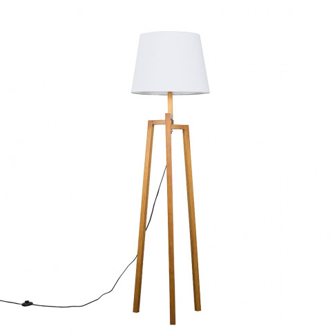 Augustus Light Wood Tripod Floor Lamp With Xl White ...