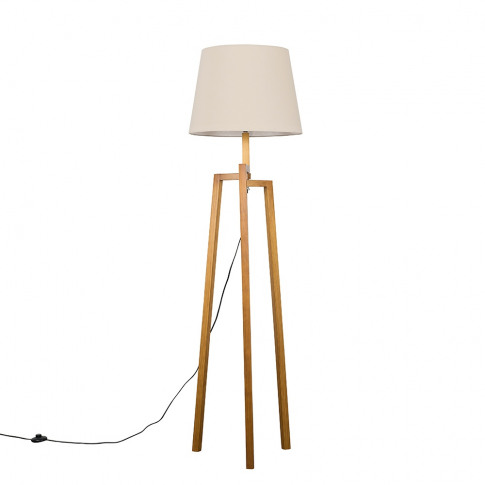 Augustus Light Wood Tripod Floor Lamp With Xl Beige ...