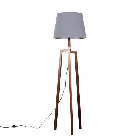 Augustus Dark Wood Tripod Floor Lamp With Xl Grey Aspen Shade