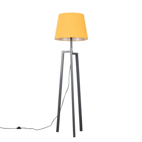 Augustus Grey Wood Tripod Floor Lamp With Xl Mustard...